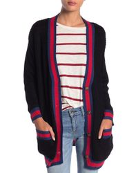 Dreamers By Debut - Stripe Trim Preppy Cardigan - Lyst