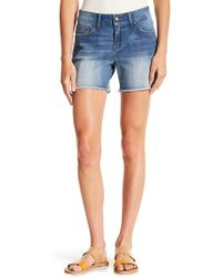 Seven7 - Colorblock Whipstitch & Frayed Shorts - Lyst