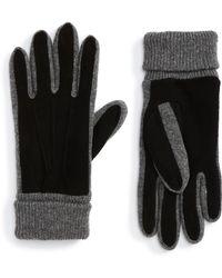Nordstrom - Suede Trim Knit Gloves - Lyst