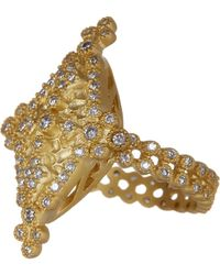 Freida Rothman - 14k Gold Plated Sterling Silver Bezel Set Cz Maltese Marquise Ring - Size 9 - Lyst