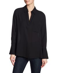 Pleione - Pleated Back Chiffon Hi-lo Blouse - Lyst