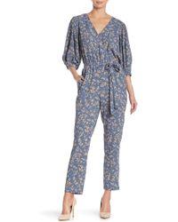 1.STATE - Wrap Tie Floral Print Jumpsuit - Lyst