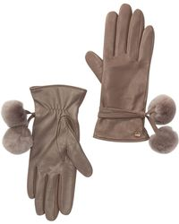 UGG - Leather Genuine Shearling Pompom Gloves - Lyst