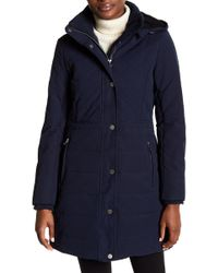 Lucky Brand - Mid Length Faux Shearling Lined Hooded Down Jacket - Lyst