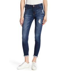 Jolt - Distress Rolled Skinny Jeans - Lyst