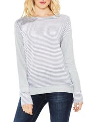 Two By Vince Camuto | Stripe Cuff Frech Terry Pullover | Lyst