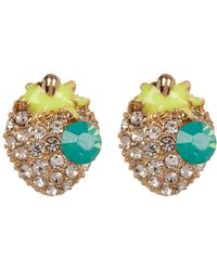 Cara - Rhinestone Strawberry Stud Earrings - Lyst