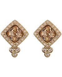 Jenny Packham - Cushion-cut Crystal Halo Stud Earrings - Lyst
