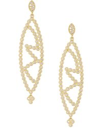 Freida Rothman - 14k Gold Plated Sterling Silver Cz Marquise Cutout Earrings - Lyst