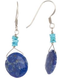 Peyote Bird - Sterling Silver Wire Wrapped Turquoise And Faceted Lapis Disc Earrings - Lyst