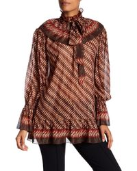 Anna Sui - Printed Metallic Silk-blend Georgette Blouse - Lyst