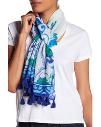 Roffe Accessories - White Abstract Tassel Scarf - Lyst