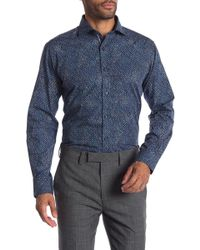 Bugatchi - Abstract Print Woven Shaped Fit Shirt - Lyst