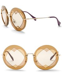 Miu Miu - Double Heart 62mm Round Sunglasses - Lyst