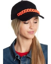 Steve Madden - Chain Distressed Brim Trucker Hat - Lyst