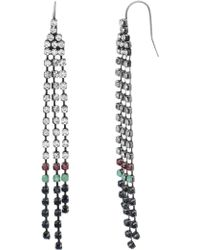 Steve Madden - Multi-colored Crystal Dangle Chain Earrings - Lyst