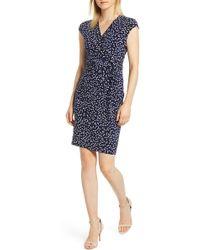 Anne Klein - Dot Print Side Twist Dress - Lyst