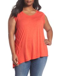 Sejour - Sleeveless Ruched Asymmetrical Top (plus Size) - Lyst