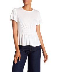 Rebecca Taylor - Short Sleeve Ruched Jersey Tee - Lyst