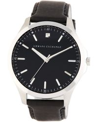 Armani Exchange - Men's Hampton Leather Strap Watch, 46mm - Lyst