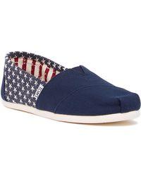 TOMS American Navy Stars Canvas Slip-On Shoe Vif4G7Xu9