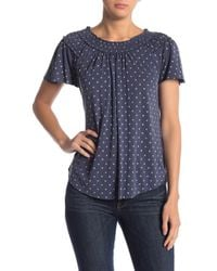 Lucky Brand - Polka Dot Off-the-shoulder Sandwash Top - Lyst