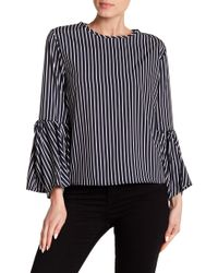 Haute Rogue - Bell Sleeve Striped Top - Lyst