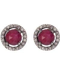 Adornia - Ruby And Champagne Diamond 5mm Echo Halo Stud Earrings - Lyst