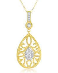 Genevive Jewelry - Gold Plated Sterling Silver Mini Milgrain Teardrop Cz Pendant Necklace - Lyst