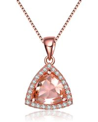 Genevive Jewelry - Rose Gold Plated Sterling Silver Champagne Cz Triangle Pendant Necklace - Lyst