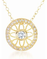 Genevive Jewelry - Gold Plated Sterling Silver Prong & Bezel Set Cz Pendant Necklace - Lyst