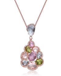 Genevive Jewelry - Rose Gold Plated Sterling Silver Multicolor Cz Cluster Pendant Necklace - Lyst