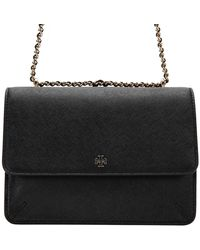 Tory Burch - Women's Robinson Saffiano Convertible Bag Black - Lyst