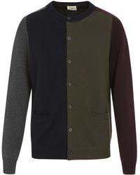 Wooster + Lardini   Colorblock Wool Button Front Sweater   Lyst