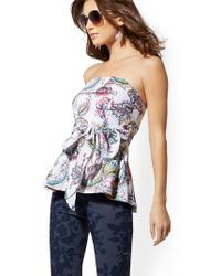 f06c5cf2870426 Self-Portrait Cutout Off-the-shoulder Velvet Peplum Top in Blue - Lyst