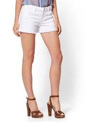 New York & Company - Soho Jeans - White Embroidered 4-inch Short - Lyst