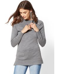 New York & Company - Zip-accent Cowl-neck Tunic Sweater - Lyst