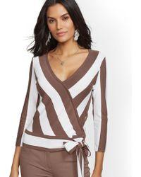 New York   Company - 7th Avenue - Stripe V-neck Wrap Sweater - Lyst 7e4185533