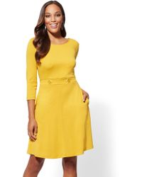 New York & Company - Button-accent Fit And Flare Dress - Lyst