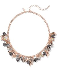 New York & Company - Rose Goldtone Beaded Collar Necklace - Lyst