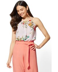 New York & Company - Floral Pleated Halter Blouse - Lyst