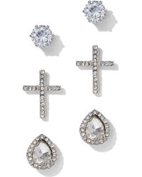 New York & Company - 3-piece Silvertone Cubic Zirconia Cross Post Earring Set - Lyst