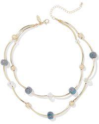 New York & Company - 2-row Goldtone Beaded Necklace - Lyst