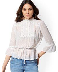 b183a8b10170f New York   Company - White Lace Bib Blouse - Lily   Cali - Lyst