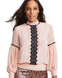 9065861a00afe New York   Company - 7th Avenue - Pink Lace-trim Smocked Blouse - Lyst