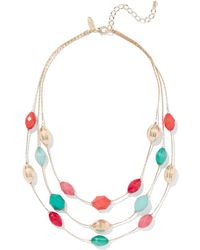 New York & Company - Goldtone Beaded Layered Necklace - Lyst