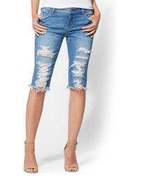 New York & Company - Soho Jeans - Destroyed 14 Inch Bowery Bermuda Short - Boogie Blue - Lyst