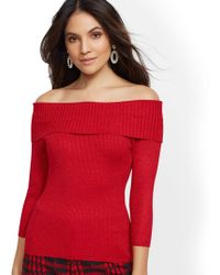 91b61ecd3fb02 New York   Company - 7th Avenue - Metallic Off-the-shoulder Sweater -