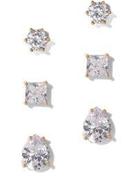 New York & Company - 3-piece Goldtone Cz Post Earring Set - Lyst