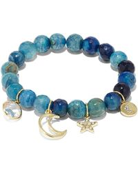 New York & Company - Blue Agate Stretch Charm Bracelet - Lyst